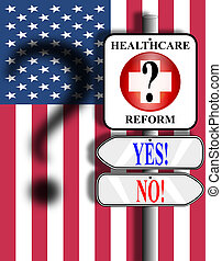 Healthcare Reform USA - Illustration of a medical symbol...