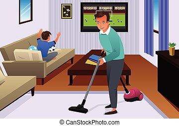Father Vacuuming the Carpet in the House - A vector...