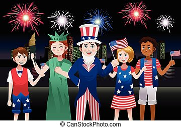 Kids Celebrating Fourth of July
