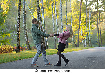 Couple in autumn park - Young couple walking in a park in...