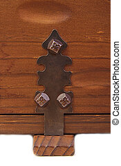 Detail of the lock on old vintage trunk - Detail of the lock...