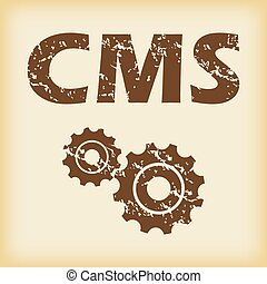 Grungy CMS settings icon - Grungy brown icon with text CMS...