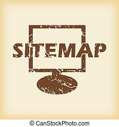 Grungy sitemap icon - Grungy brown icon with text SITEMAP in...