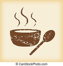 Grungy hot soup icon