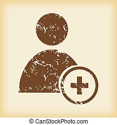 Grungy add user icon - Grungy brown icon with image of user...