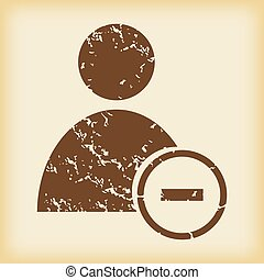 Grungy remove user icon - Grungy brown icon with image of...