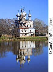 Russian church - Stone church in Velsk, Arkhangelsk region,...