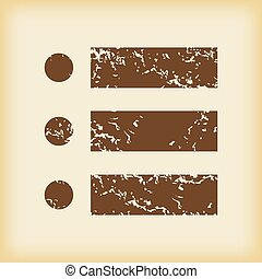 Grungy dotted list icon - Grungy brown icon with image of...