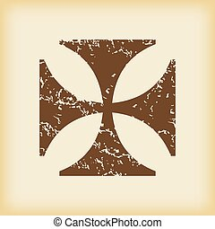 Grungy maltese cross icon - Grungy brown icon with image of...