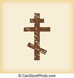 Grungy orthodox cross icon - Grungy brown icon with image of...