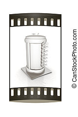 3d abstract metal pressure vessel . The film strip