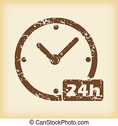 Grungy 24h work icon - Grungy brown icon with image of clock...