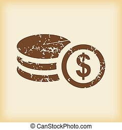 Grungy dollar rouleau icon - Grungy brown icon with pile of...