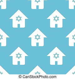 Blue judaic house pattern - Vector pattern with image of...