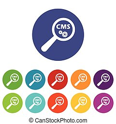 CMS search icon set - Round colored icon set with text CMS...