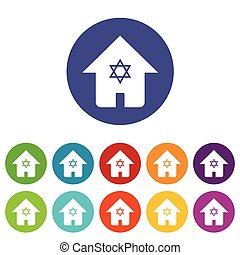 Judaic house icon set - Vector round colored icon set with...