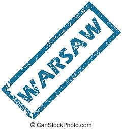Warsaw rubber stamp - Vector blue rubber stamp with city...