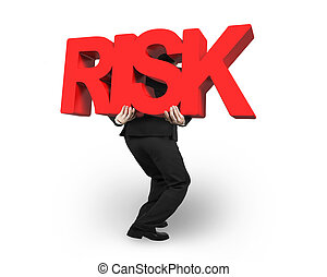 Man carrying red RISK word isolated on white - Man carrying...