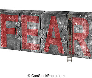 Man climbing ladder puzzles concrete wall red fear word -...