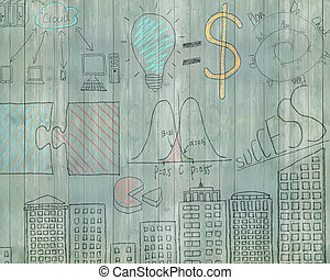 Business concept doodles on old green wooden wall background