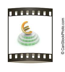 icon euro sign on podium. The film strip