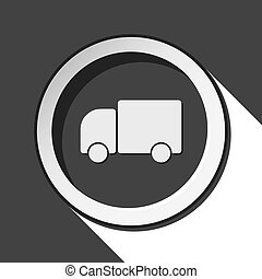 black icon with lorry car and stylized shadow