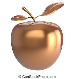 Gold apple fruit icon luxury golden - Gold apple fruit...