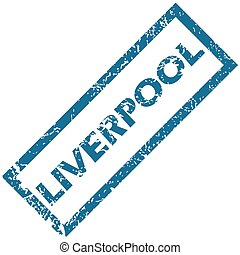 Liverpool rubber stamp - Vector blue rubber stamp with city...