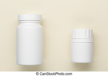 Plastic white medical bottle