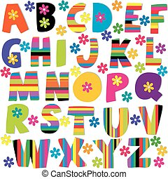 Happy alphabet set with flowers and stripes patterned...