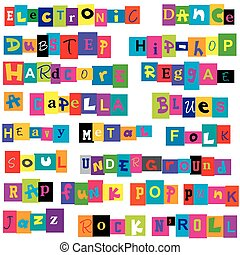 Music genres made of colorful letters - Set of music genres...