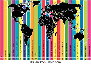 Colorful background with world map and time zones -...