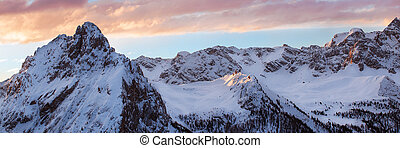 Winter landscape of high snowy mountains - Sunset, sunrise...