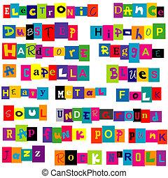 Música, genres, hecho, de, colorido, Cartas,