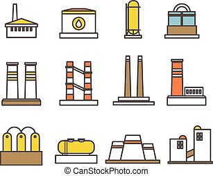 Modern factory buildings collection. Minimalism illustration concept