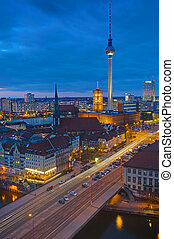 Berlin Alexanderplatz at night - Berlin Alexanderplatz with...