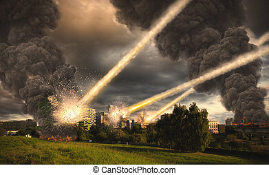 Meteorite shower over a city - Meteorite shower destroying...