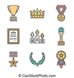 colored outline various awards symbols icons collection -...