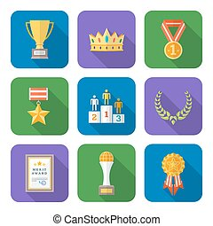 flat style colored various awards symbols icons collection -...