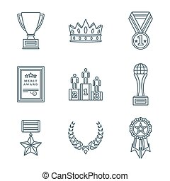 dark color outline various awards symbols icons collection -...