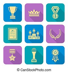 gold flat style colored various awards symbols icons...