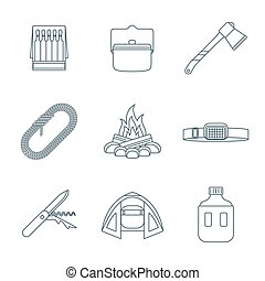 dark colored outline various camping icons collection -...