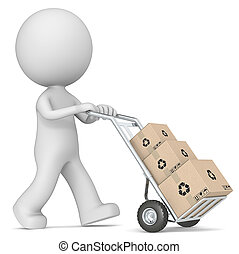 Box delivery - The dude 3D character pushing Hand Truck with...