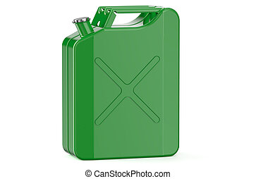 green jerry can with gasoline isolated on white background
