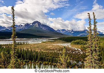 Landscape view of river and montains, Rocky Mountains, Canada