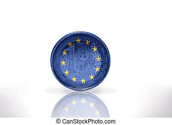 euro coin with european union flag on the white background