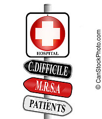 Hospital Infections - Illustration of a medical cross symbol...