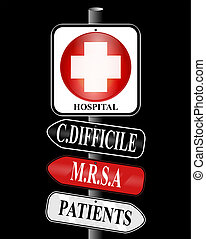 MRSA Superbug Sign - Illustration of a hospital sign nailed...