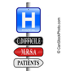 Hospital Superbug Signs - Illustration of a hospital sign...