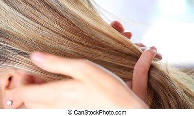 hairstyle, hairdresser's hands work
